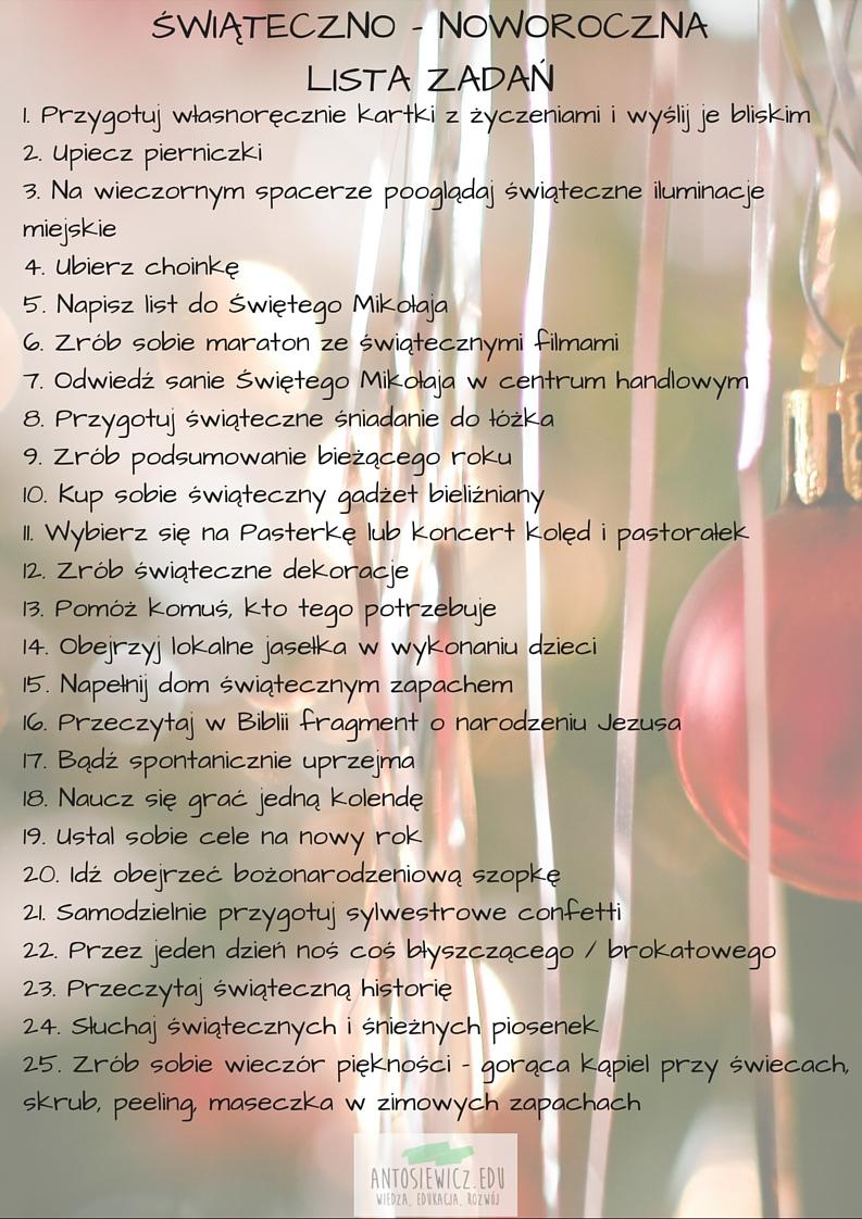 świateczno - noworoczna lista zadań
