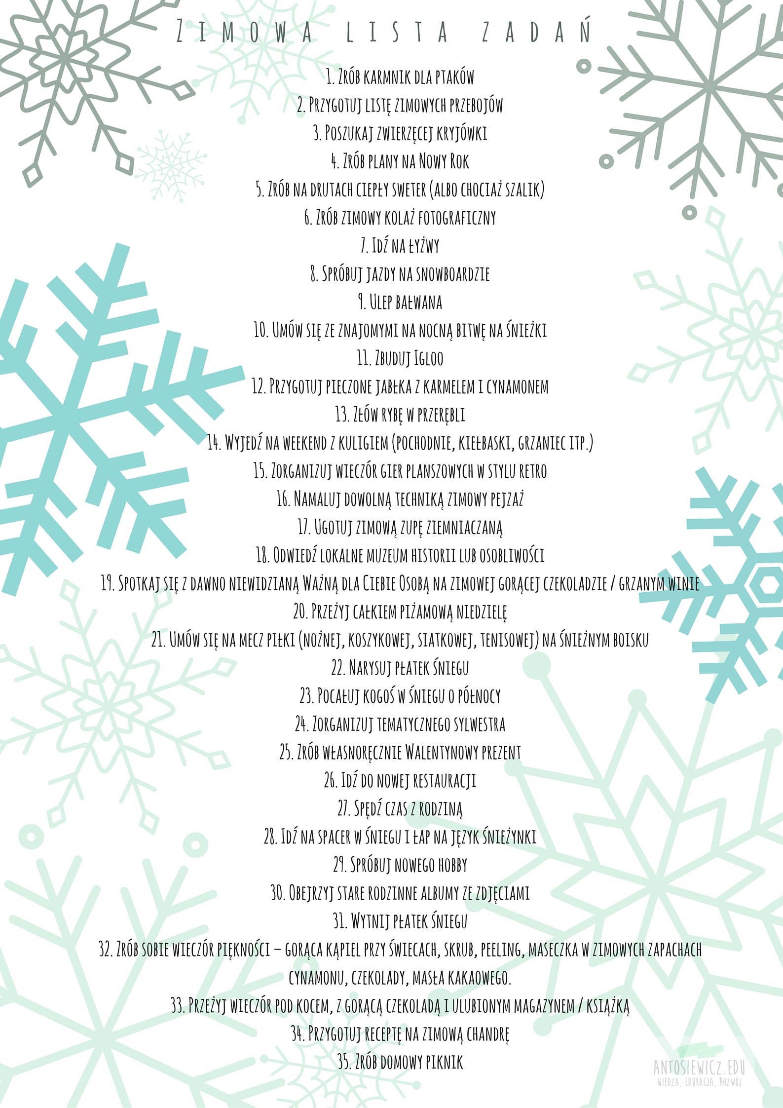 Zimowa lista zadań